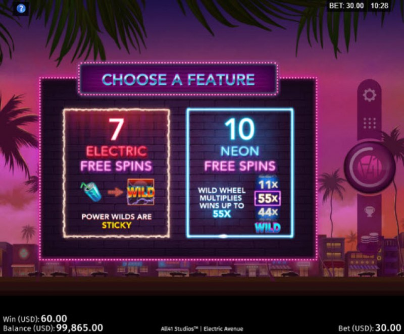 Electric Avenue :: Choose your free spins feature