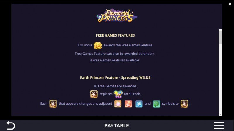 Elemental Princess :: Free Spin Feature Rules