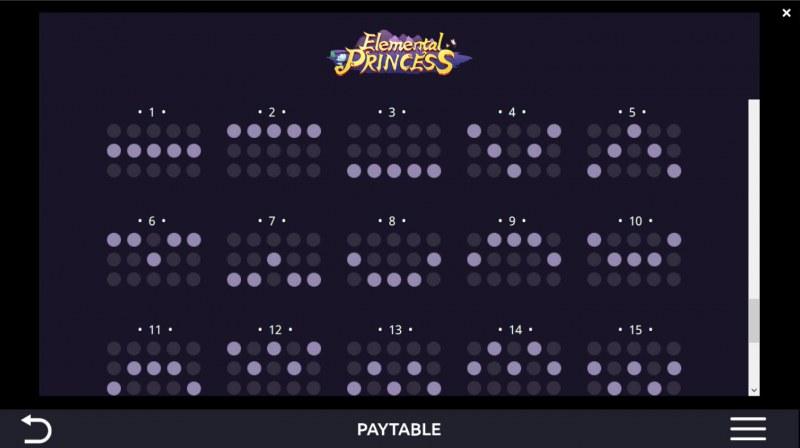 Elemental Princess :: Paylines 1-15