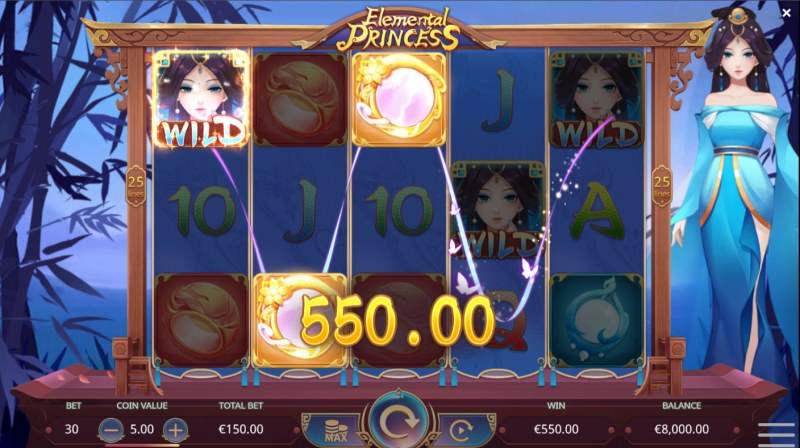 Elemental Princess :: Water princess spin leads to a big win