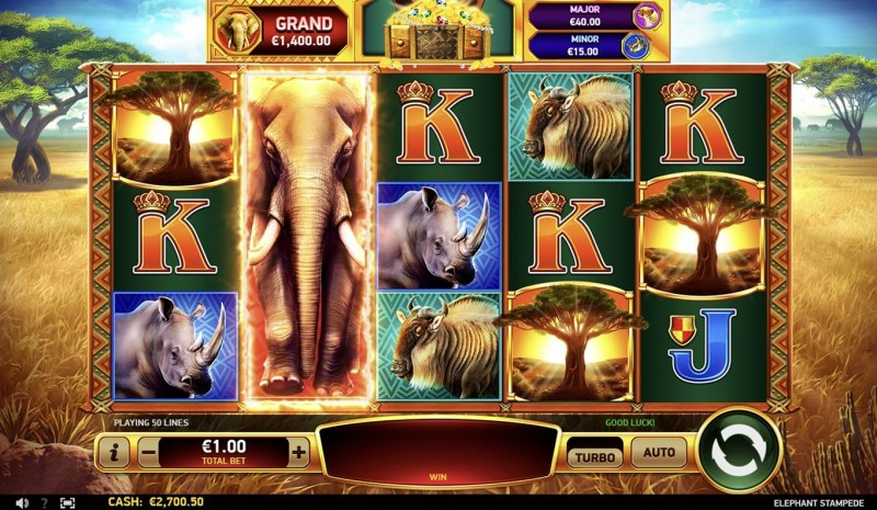 Elephant Stampede :: Scatter symbols triggers the free spins bonus feature