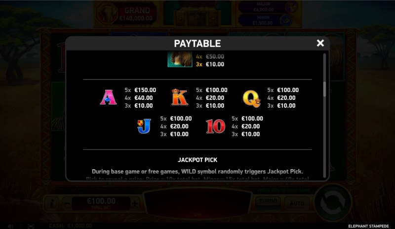 Elephant Stampede :: Paytable - Low Value Symbols