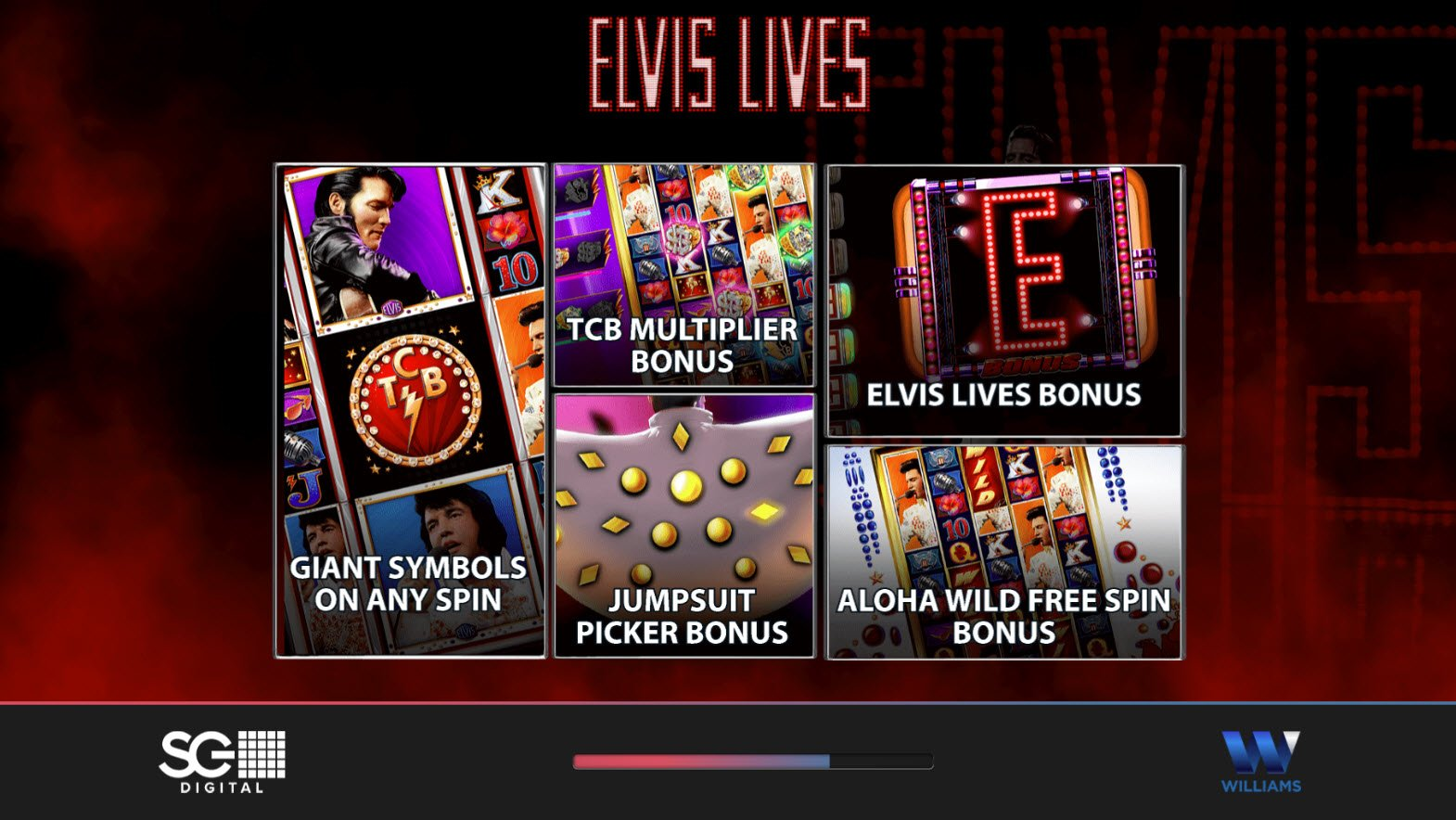 Play slots at Lucky Bets: Lucky Bets featuring the Video Slots Elvis Lives with a maximum payout of $250,000