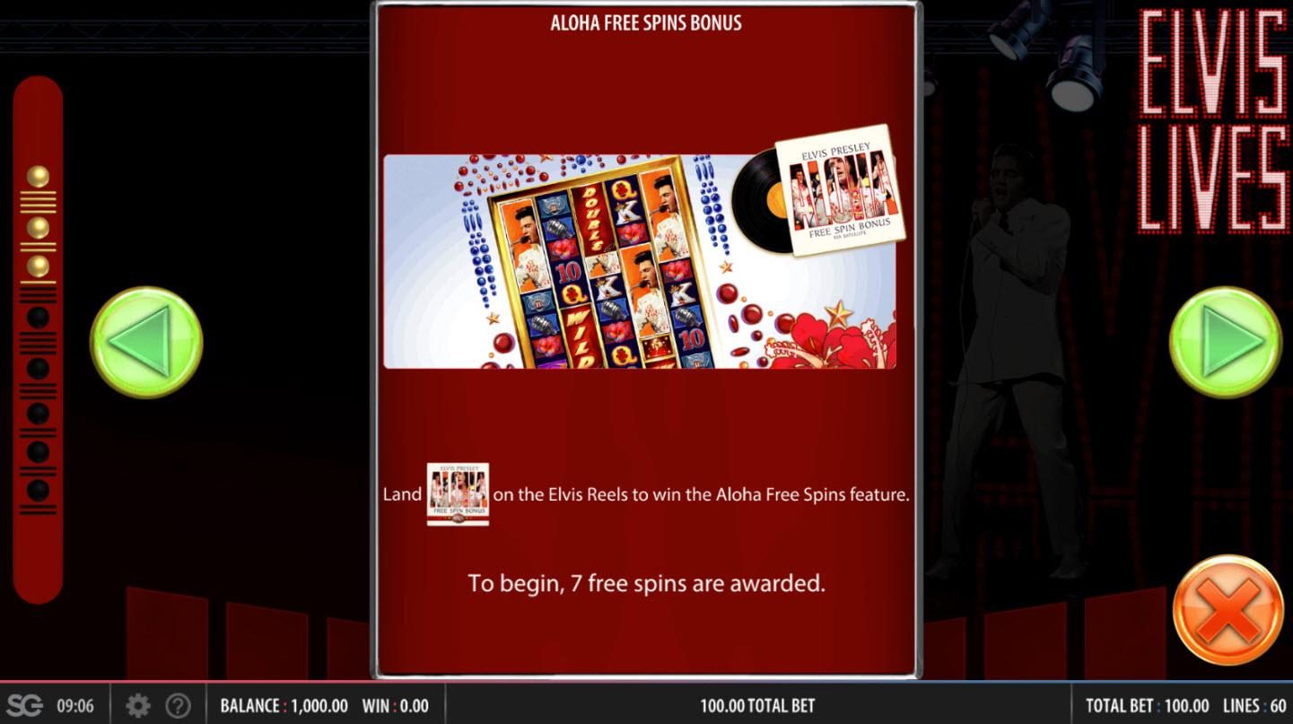Elvis Lives :: Aloha Free Spins Rules