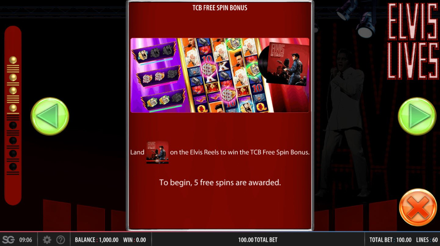 Elvis Lives :: TCB Free Spins Rules