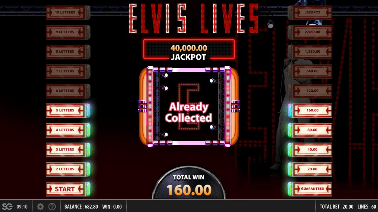 Elvis Lives :: Land on an already collected letter and bonus play ends
