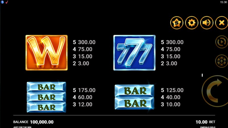 Emerald Gold :: Paytable - High Value Symbols