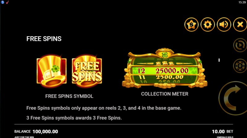 Emerald Gold :: Free Spin Feature Rules