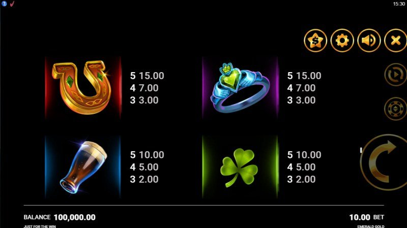 Emerald Gold :: Paytable - Low Value Symbols