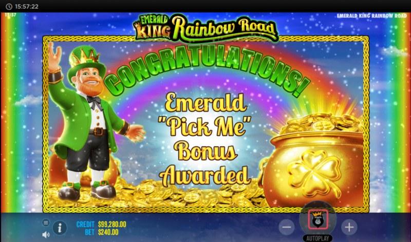 Emerald King Rainbow Road :: Emerald Pick Bonus