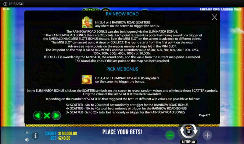 Emerald King Rainbow Road :: Feature Rules