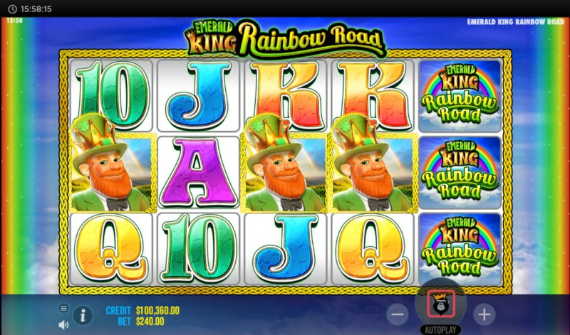 Emerald King Rainbow Road :: Scatter symbols triggers the free spins bonus feature