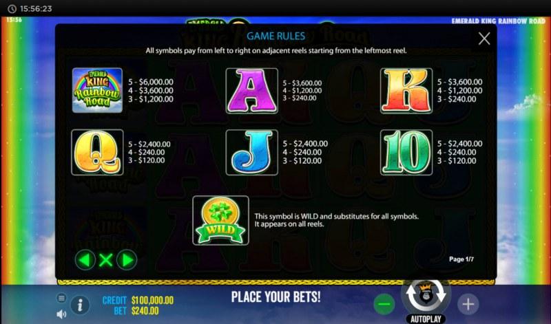 Emerald King Rainbow Road :: Paytable