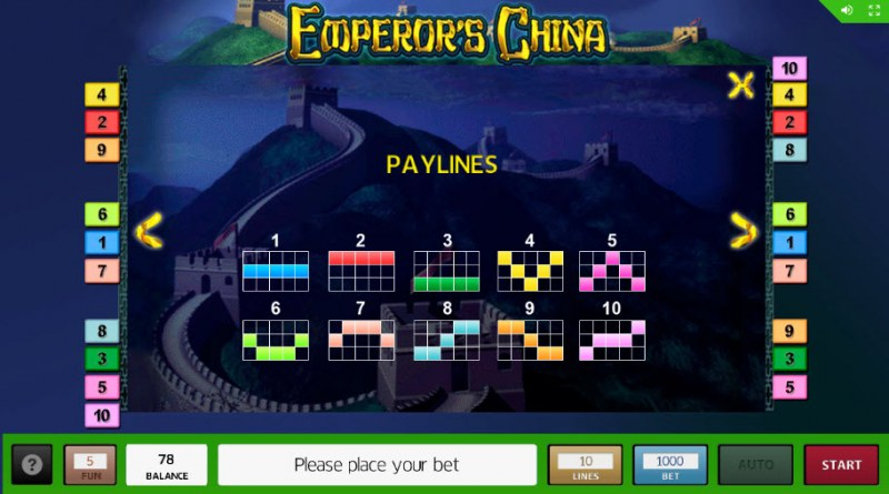 Emperor's China :: Paylines 1-10