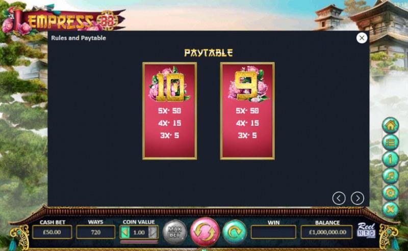 Empress 88 :: Paytable - Low Value Symbols