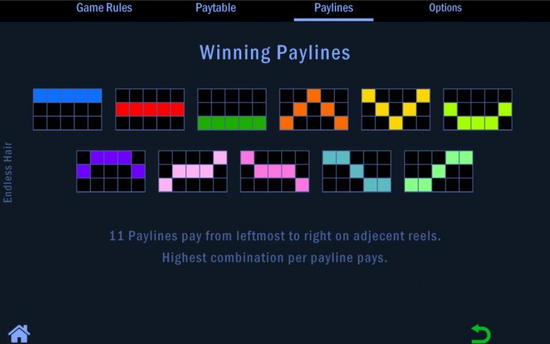 Endless Hair :: Paylines 1-11