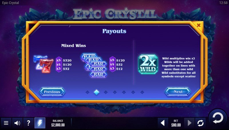 Epic Crystal :: Paytable