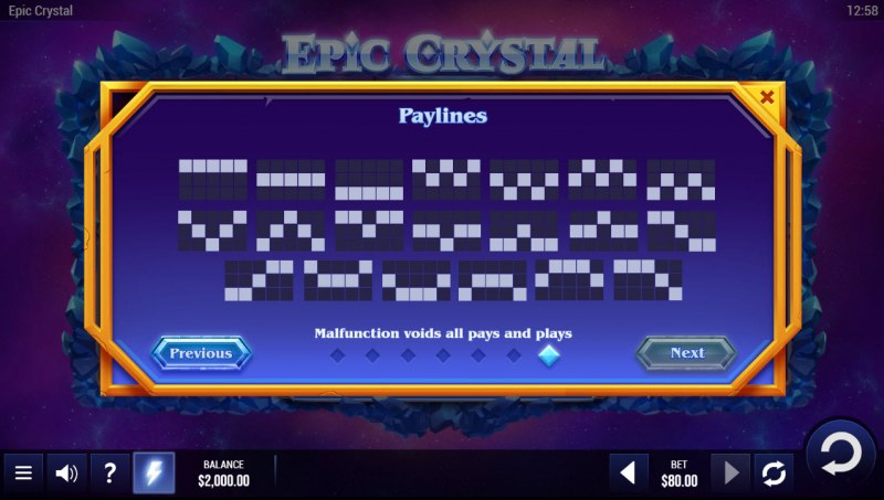 Epic Crystal :: Paylines 1-20