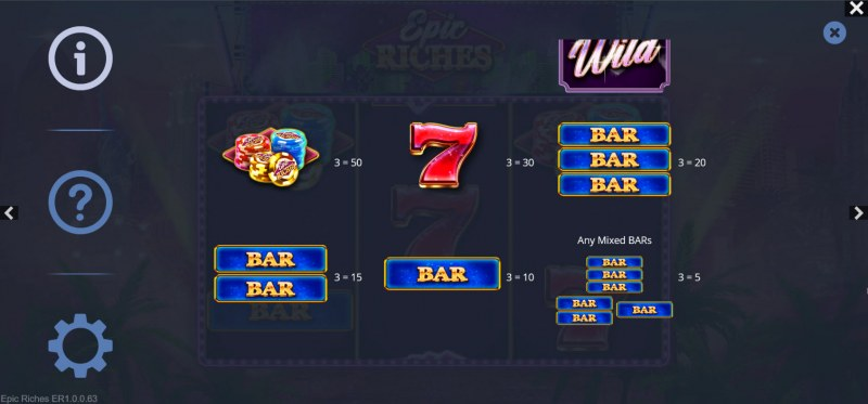 Epic Riches :: Paytable