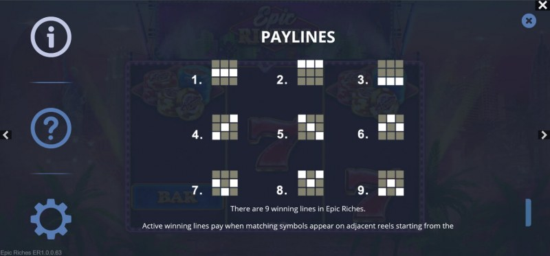 Epic Riches :: Paylines 1-9