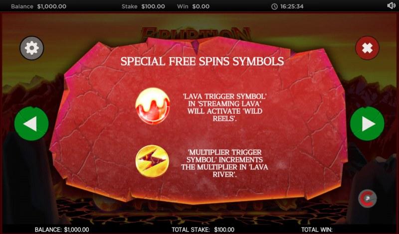 Eruption :: Special Free Spins Symbols