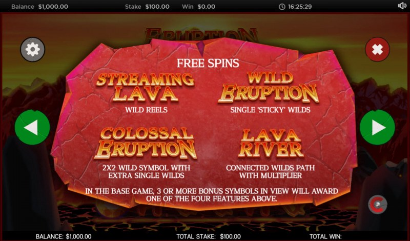 Eruption :: Free Spins Rules
