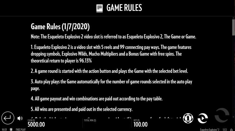 Esqueleto Explosivo 2 :: General Game Rules