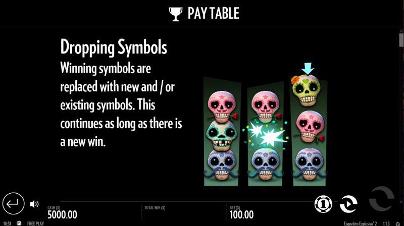 Esqueleto Explosivo 2 :: Dropping Symbols