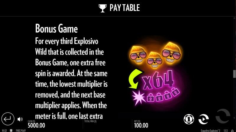 Esqueleto Explosivo 2 :: Bonus Game Rules