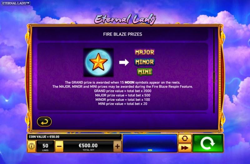 Eternal Lady :: Jackpot Rules