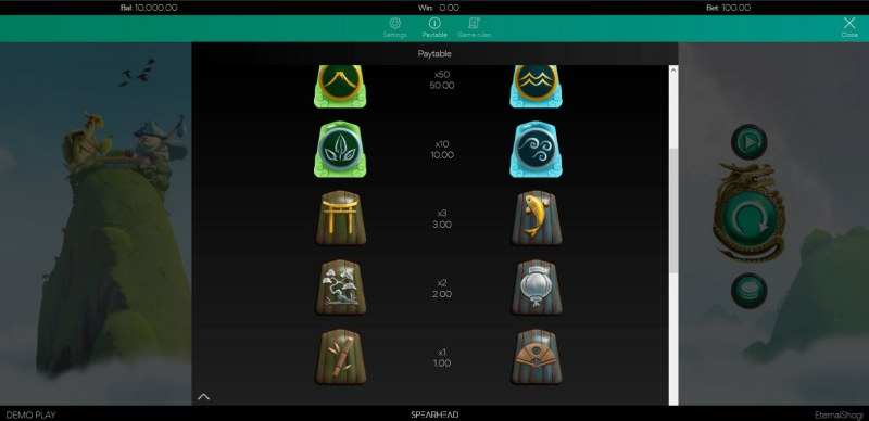 Eternal Shogi :: Paytable - Low Value Symbols