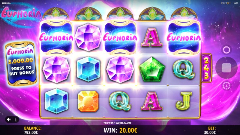 Euphoria :: Scatter symbols triggers the free spins feature