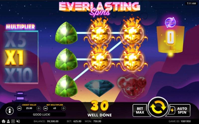 Everlasting Spins :: Multiple winning paylines