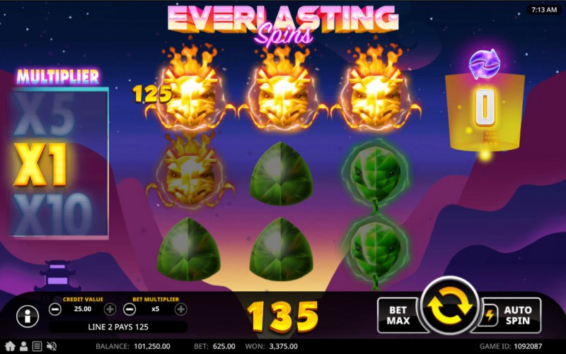 Everlasting Spins :: A three of a kind win