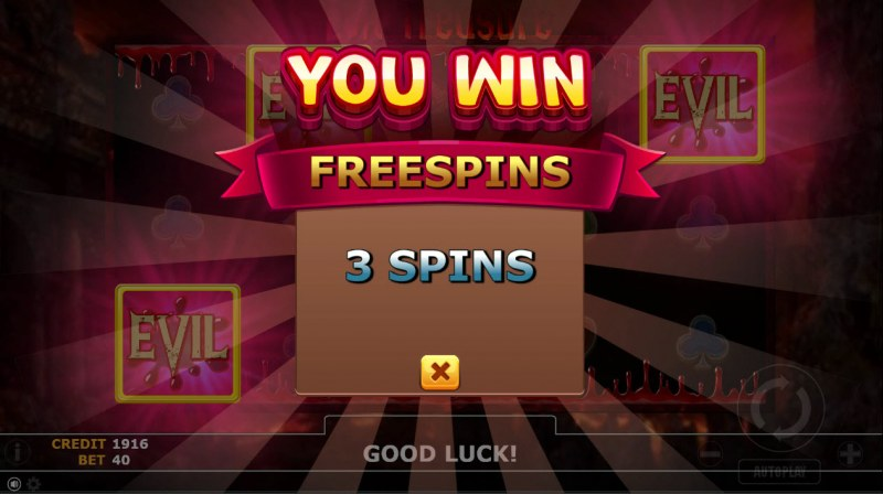 Evil Treasure :: 3 free spins awarded