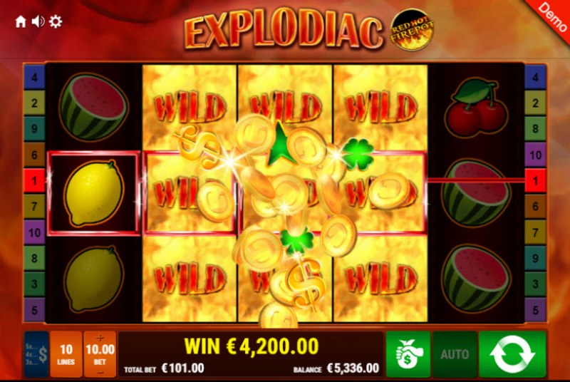 Explodiac Red Hot Firepot :: Multiple winning combinations leads to a big win