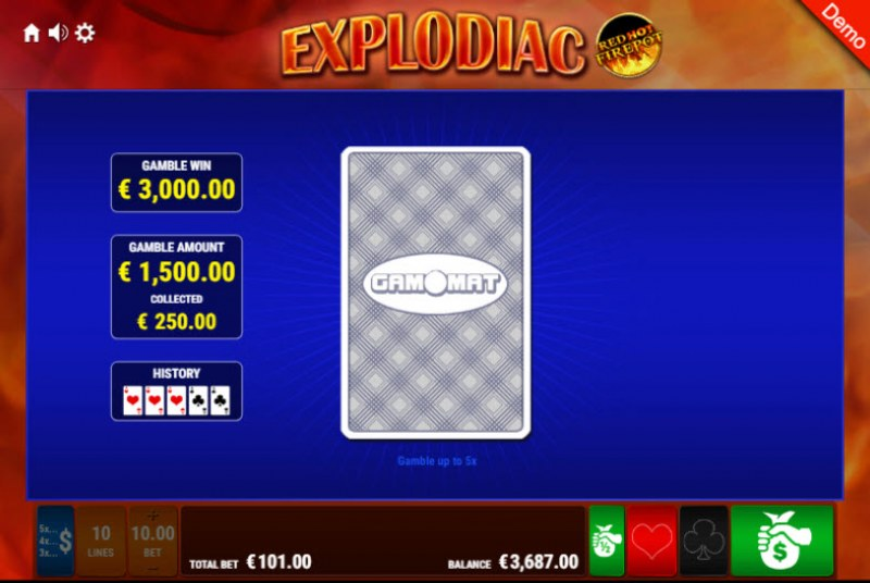 Explodiac Red Hot Firepot :: Red or Black Gamble Feature