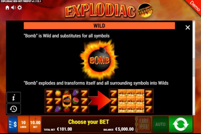 Explodiac Red Hot Firepot :: Wild Symbols Rules