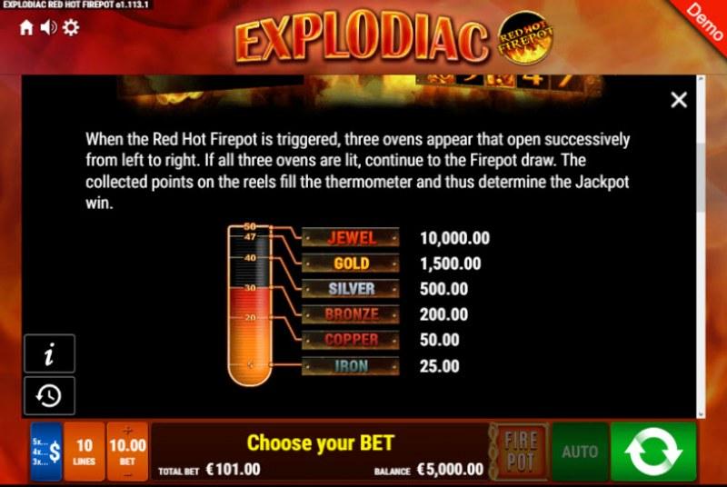Explodiac Red Hot Firepot :: Bonus Game Rules