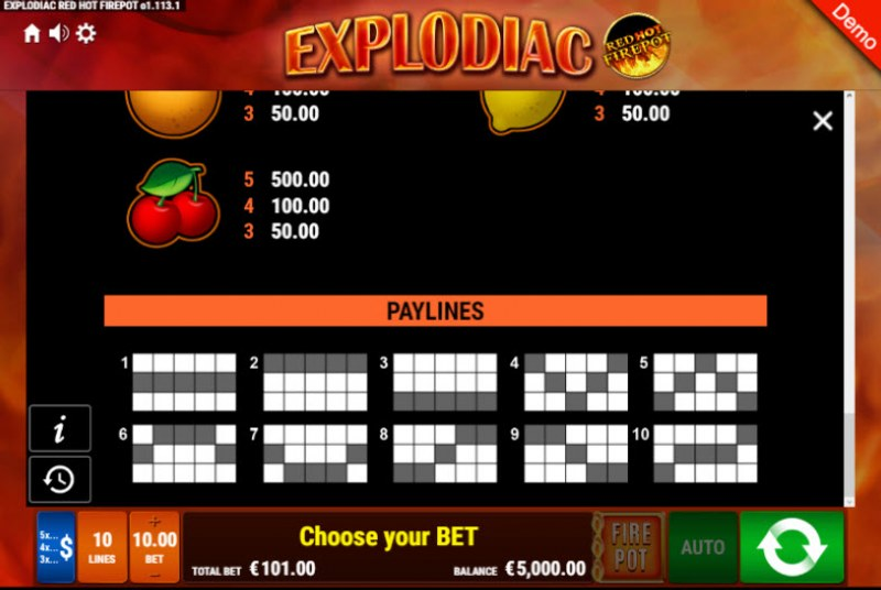 Explodiac Red Hot Firepot :: Paylines 1-10