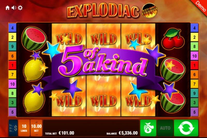 Explodiac Red Hot Firepot :: A five of a kind win