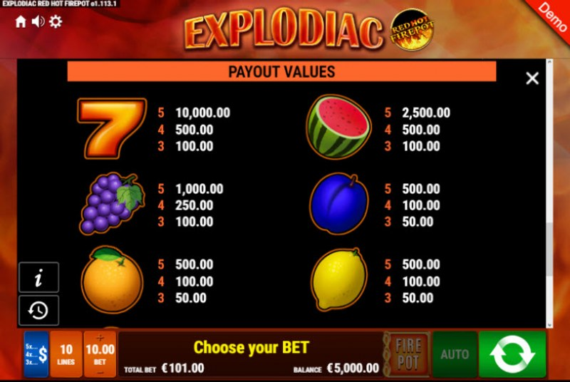Explodiac Red Hot Firepot :: Paytable