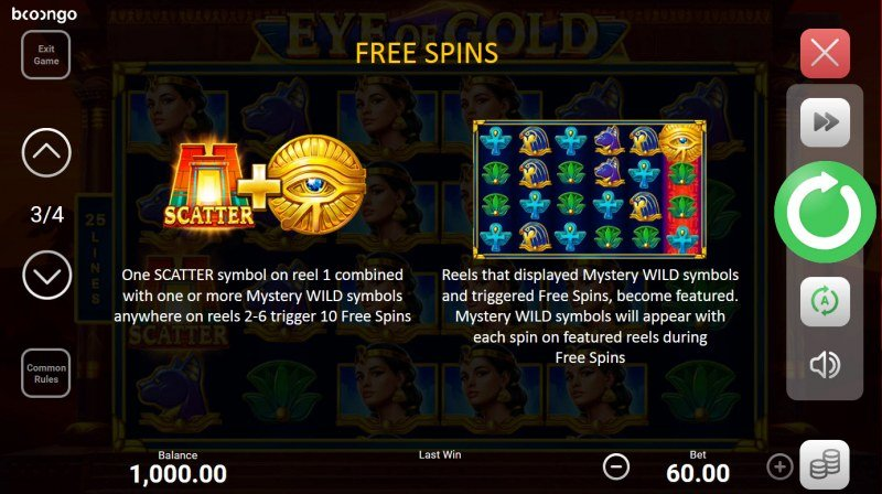 Eye of Gold :: Free Spin Feature Rules
