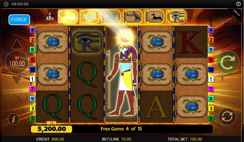 Eye of Horus Gambler :: Symbols are upgraded when wild symbol appears on the reels