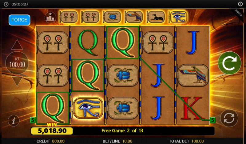 Eye of Horus Gambler :: Free Spins Game Board