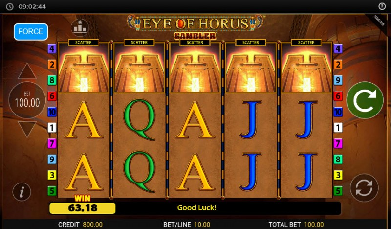 Eye of Horus Gambler :: Scatter symbols triggers the free spins feature