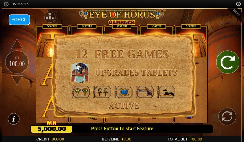 Eye of Horus Gambler :: 12 Free Spins Awarded
