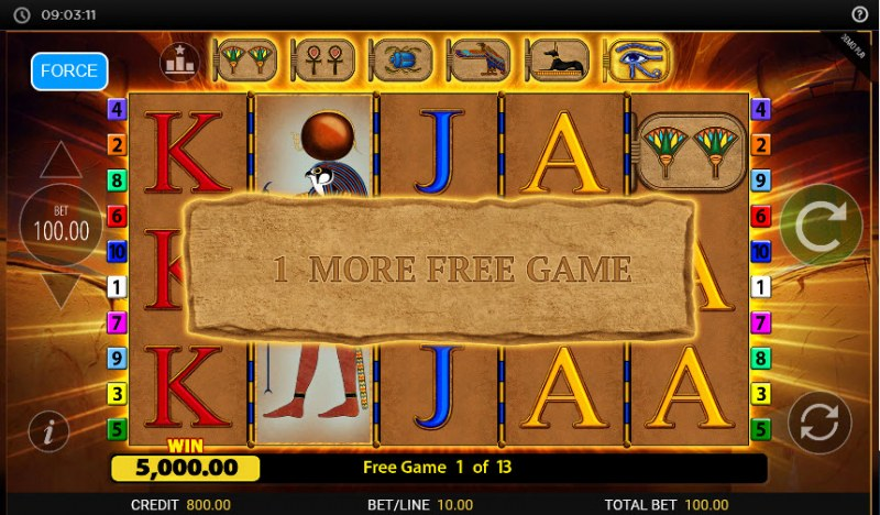 Eye of Horus Gambler :: 1 more free game awarded for every stacked wild landing on the reels