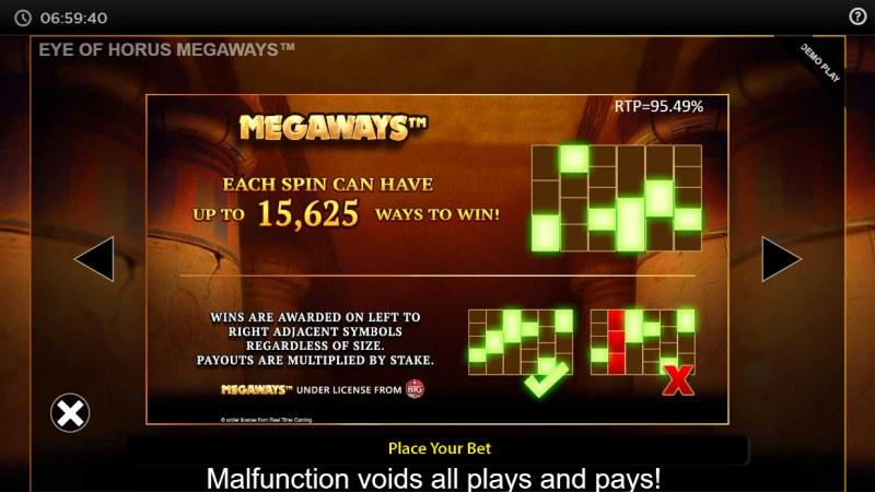 Eye of Horus Megaways :: 15625 Ways to Win