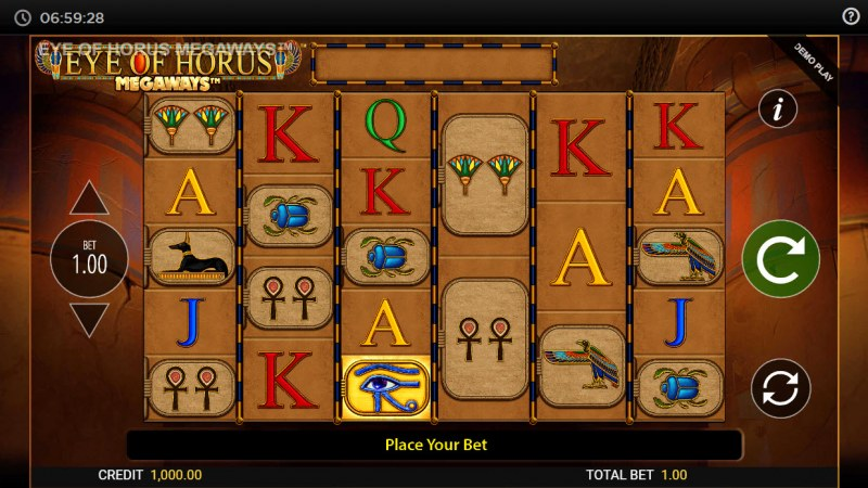 Eye of Horus Megaways :: Main Game Board